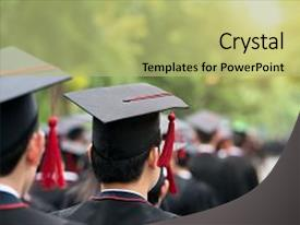 <b>Crystal</b> PowerPoint template with graduation - back of graduates during commencement themed background and a mint green colored foreground design featuring a [design description].