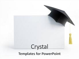 <b>Crystal</b> PowerPoint template with graduation cap blank isolated themed background and a white colored foreground design featuring a [design description].