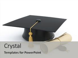 <b>Crystal</b> PowerPoint template with graduation cap diploma isolated themed background and a light gray colored foreground design featuring a [design description].