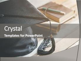 <b>Crystal</b> PowerPoint template with graduation cap hat with degree themed background and a gray colored foreground design featuring a [design description].