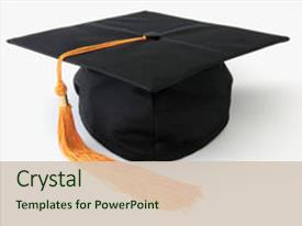 <b>Crystal</b> PowerPoint template with graduation cap isolated object themed background and a soft green colored foreground design featuring a [design description].