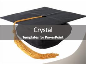 <b>Crystal</b> PowerPoint template with graduation cap isolated on white themed background and a dark gray colored foreground design featuring a [design description].