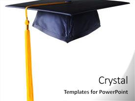 PPT theme having graduation cap with golden tassel background and a white colored foreground.