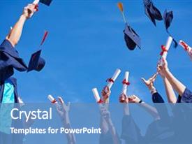 <b>Crystal</b> PowerPoint template with graduation - high school students graduates tossing themed background and a teal colored foreground design featuring a [design description].
