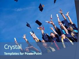 <b>Crystal</b> PowerPoint template with graduation - high school students graduates tossing themed background and a ocean colored foreground design featuring a [design description].