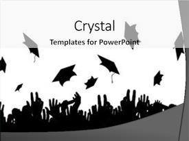 <b>Crystal</b> PowerPoint template with graduation - illustration of a crowd themed background and a white colored foreground design featuring a [design description].