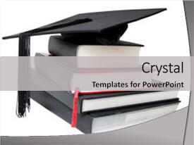 <b>Crystal</b> PowerPoint template with graduation mortar on top themed background and a light gray colored foreground design featuring a [design description].
