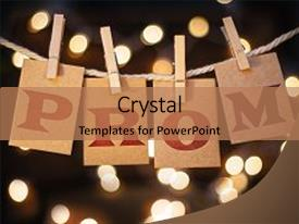 <b>Crystal</b> PowerPoint template with graduation - word prom printed on clothespin themed background and a coral colored foreground design featuring a [design description].