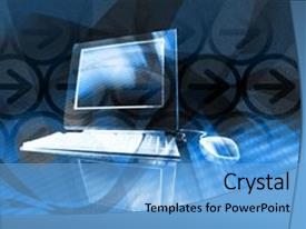 <b>Crystal</b> PowerPoint template with graphic design - mixed media illustration of computer themed background and a light blue colored foreground design featuring a [design description].
