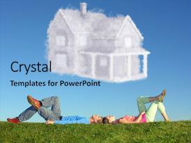 <b>Crystal</b> PowerPoint template with grass and dream house themed background and a light blue colored foreground design featuring a [design description].