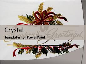<b>Crystal</b> PowerPoint template with greetings on a christmas card themed background and a light gray colored foreground design featuring a [design description].
