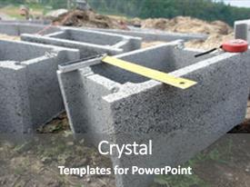 Beautiful presentation design featuring group of concrete shuttering blocks backdrop and a gray colored foreground.