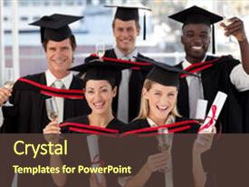 <b>Crystal</b> PowerPoint template with group of people graduating themed background and a tawny brown colored foreground design featuring a [design description].