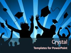 <b>Crystal</b> PowerPoint template with group of students celebrate graduation themed background and a wine colored foreground design featuring a [design description].