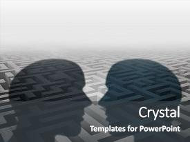 <b>Crystal</b> PowerPoint template with group therapy or marriage counseling themed background and a dark gray colored foreground design featuring a [design description].