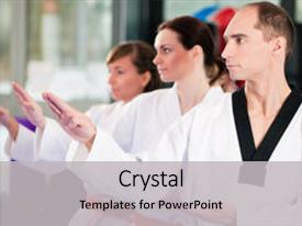 Martial arts powerpoint templates crystalgraphics crystal powerpoint template with gym in martial arts themed background and a light gray colored foreground toneelgroepblik Image collections