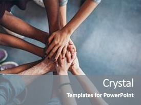 Presentation design with hands showing unity and teamwork background and a gray colored foreground.