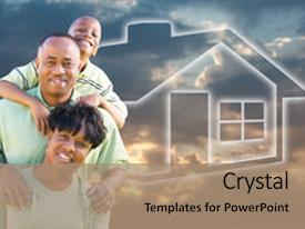 American dream powerpoint templates crystalgraphics presentation enhanced with happy african american family background and a coral colored foreground toneelgroepblik Choice Image