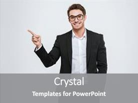 Amazing presentation theme having happy businessman in eyeglasses backdrop and a gray colored foreground.