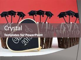 <b>Crystal</b> PowerPoint template with happy graduation day party chocolate themed background and a gray colored foreground design featuring a [design description].