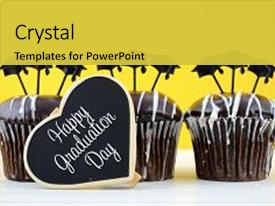 <b>Crystal</b> PowerPoint template with happy graduation day party chocolate themed background and a yellow colored foreground design featuring a [design description].