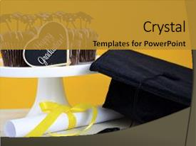 <b>Crystal</b> PowerPoint template with happy graduation day party chocolate themed background and a gold colored foreground design featuring a [design description].