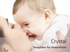 PPT theme with happy mother with baby background and a lemonade colored foreground.