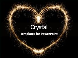 <b>Crystal</b> PowerPoint template with heart shape on black background themed background and a black colored foreground design featuring a [design description].