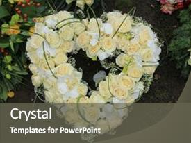 powerpoint template: bouquet of multicolor flowers with cemetery, Powerpoint templates