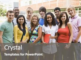 <b>Crystal</b> PowerPoint template with high school - group of students outdoors looking themed background and a gray colored foreground design featuring a [design description].