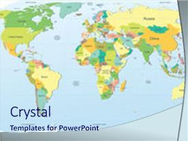 PPT enhanced with highly detailed political world map theme and a sky blue colored foreground.