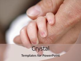 <b>Crystal</b> PowerPoint template with holding his father s hand themed background and a coral colored foreground design featuring a [design description].