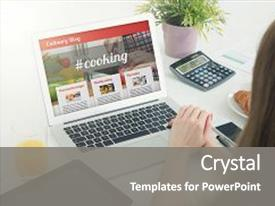 <b>Crystal</b> PowerPoint template with home culinary website blog themed background and a gray colored foreground design featuring a [design description].