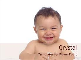 Audience pleasing PPT theme consisting of horizontal portrait of a baby backdrop and a lemonade colored foreground.