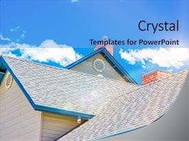 Beautiful slide deck featuring house roof and roofing business backdrop and a light blue colored foreground.