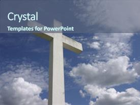 Slide deck with huge christianity cross and natural background and a ocean colored foreground.