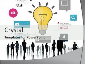 PPT theme having ideas inspiration creativity biz infographic background and a light gray colored foreground