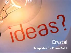 <b>Crystal</b> PowerPoint template with ideas with lightbulb it s themed background and a gray colored foreground design featuring a [design description].