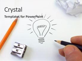 <b>Crystal</b> PowerPoint template with illustration of a light bulb themed background and a white colored foreground design featuring a [design description].