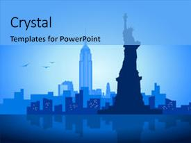 New york powerpoint templates crystalgraphics colorful theme enhanced with illustration of city backdrop and a light blue colored toneelgroepblik Images
