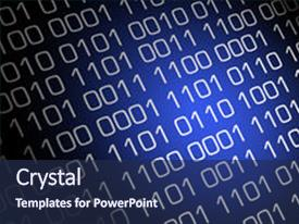 <b>Crystal</b> PowerPoint template with image has a blue themed background and a navy blue colored foreground design featuring a [design description].