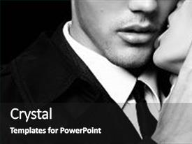<b>Crystal</b> PowerPoint template with impassioned couple office love story themed background and a black colored foreground design featuring a [design description].