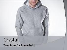 Colorful presentation design enhanced with isolated plain hoody design presentation backdrop and a light gray colored foreground.