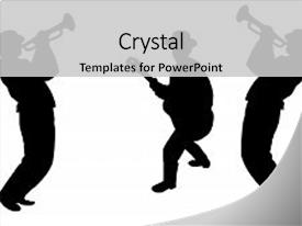 <b>Crystal</b> PowerPoint template with jazz festival for music art themed background and a light gray colored foreground design featuring a [design description].