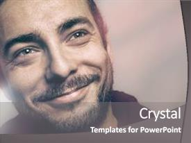 Amazing PPT theme having smile - joyful beautiful man joy backdrop and a gray colored foreground.