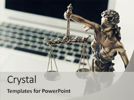 Audience pleasing PPT layouts consisting of justice and law concept in backdrop and a light gray colored foreground.