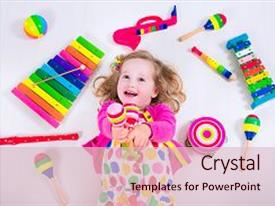 <b>Crystal</b> PowerPoint template with kids colorful wooden art themed background and a lemonade colored foreground design featuring a [design description].