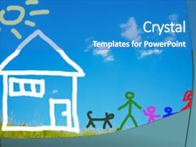 <b>Crystal</b> PowerPoint template with kids drawing - happy family and their pet themed background and a teal colored foreground design featuring a [design description].