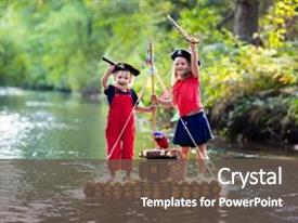 Pirate powerpoint templates crystalgraphics ppt theme with kids dressed in costumes background and a dark gray colored toneelgroepblik Choice Image