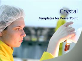 Slide deck consisting of lab technician inspecting the quality background and a sky blue colored foreground.